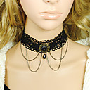 Gothic Layered Women's Black Lace zilveren ketting collier