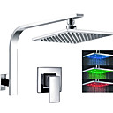 Color Changing LED Chorme Finish Contemporary 8 inch Shower Head Shower Faucet