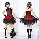 Sleeveless Short Black and Red Lace Cotton Guro Lolita Dress