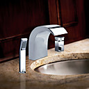 Chrome Finish Stainless Steel Contemporary Style Widespread Bathroom Sink Faucets with Handheld Faucet