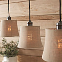 60W Modern Pendant Light with 3 Lights and Fabric Drum Shade