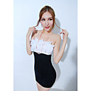 Women's Sexy Ruffle Contrast Color Strapless Bodycon Dress