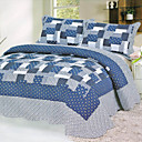 3PCS Blue Patchwork Cotton Queen Size Quilt Set