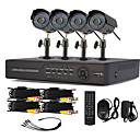 4 Channel One-Touch CCTV DVR Sistema Online (4 Warterproof cmara al aire libre)