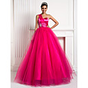 Ball Gown One Shoulder Floor-length Tulle And Stretch Satin Evening Dress