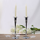 Gorgeous Silver Plated Candle Holder With Rhinestone (Set of 2)