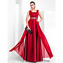 Sheath/Column Square Floor-length Chiffon And Stretch Satin Evening Dress