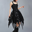 Sleeveless Tea-length Black and White Cotton Punk Lolita Dress