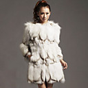 Nice Long Sleeve Collarless Fox Fur Casual/Party Coat