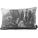 Retro Ship Pattern Print Linen Decorative Pillow Cover