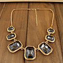 Women's Geometric Silver Black Diamond Golden Chain Necklace