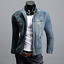 Men 's Denim Hoodie Fitted Outwear