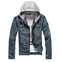 Men 's Denim Euramerican Style Hoodie Jean Jacket Outwear