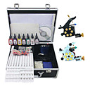 2 Cast Iron Tattoo Machine Gun Kit with 7Pcs Ink and Carry Case