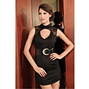 Black Elegant Lace Back Night Dress(Length:65cm Bust:86-102cm  Waist:58-79cm  Hip:90-104cm)
