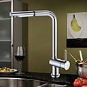 Single Handle Solid Brass Pull Out Chrome Finish Kitchen Faucet