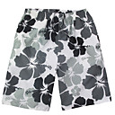 Mens Black-white Beach Casual Flowers Pattern Trunks