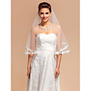 Elegant One-tier Elbow Wedding Veils With Lace Applique/Finished Edge