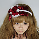 Red Rose Cony Hair Satin Princess Lolita Headband