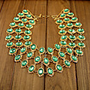Women's Elegant Layerd Light Green Diamond Beaded BIB Necklace