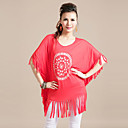 Women's Cotton Stretch Plus Size Tassels Dress(Bust:138-180cm,Length:64cm)