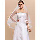 Elegante 1 Layer Elbow Length Véu de casamento com borda do laço Applique
