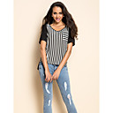 TS Stripes Asymmetric Hem Blouse