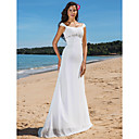 Sheath/Column Scoop Sweep/Brush Train Chiffon Wedding Dress