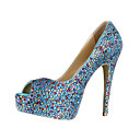 Amazing Leather Stiletto Heel Peep Toe With Colorful Rhinestone Wedding/ Party Shoes