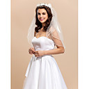 2-tier Elbow Length Wedding Veil with Floral Hoop