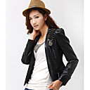 Langarm Stehkragen PU Casual / Party-Jacke
