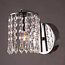 60W Vibrant Modern Light Support mural avec pendentifs en cristal en chrome poli
