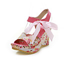 Fashion PU And Satin Wedge Heel Sandals With Bowknot Party / Evening Shoes(More Colors)