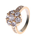 Lovely Copper Alloy CZ Crystal Rings