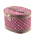 1PCS Cosmetic Makeup Pouch Portable Case Bag with Mirrors Cartoon Lattice Brown&amp;Rose