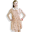 FOURMA Cute Pan Collar Star Print Lace Short Sleeve Chiffon Dress