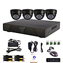 4-Kanal Home and Office DIY CCTV DVR-System (P2P Online, 4 Indoor-Dome-Kamera)