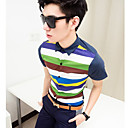 Men's Colorful Stripes Cotton Short Shirt