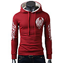 Man's Cotton Contrast Color Printing Hoodie with Cap(Assorted Colors)