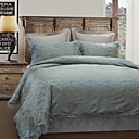 3PCS Blue Lace Poly/Cotton Duvet Cover Set