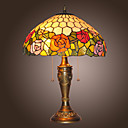 lampes de table tiffany avec 2 feux de fleurs design electroplate finition