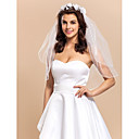 Elegent 2 Layers Elbow Length Wedding Veil with Floral Hoop