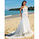 Sheath/Column Sweetheart Chapel Train Lace Wedding Dress