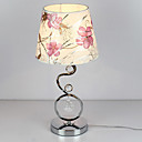 40W Contemporary Table Light with Elegant Fabric Shade Crystal Decor Curving Electroplate Body