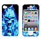 Protective Smooth Polycarbonate Front and Back Case for iPhone 4 and iPhone 4S (Blue Fire Skull)